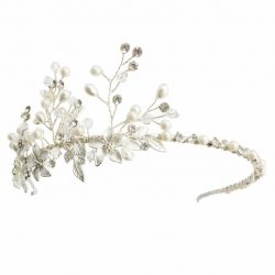 Vine headpiece with pearls and metal leaves