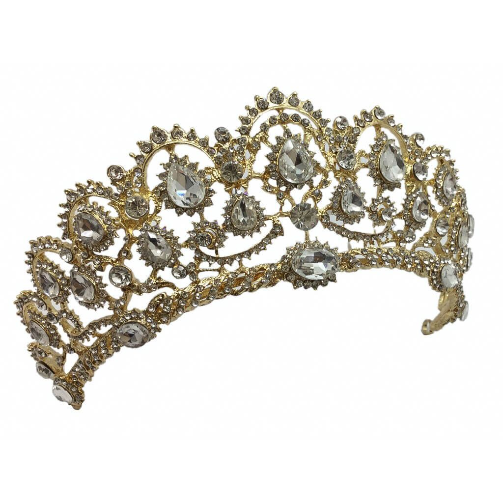 HT020G bridal crown encrusted with crystal and gold metal base
