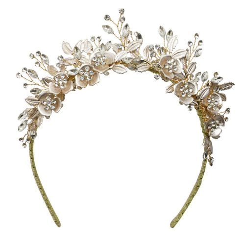 A gold crystal headpiece for the bride HT1333