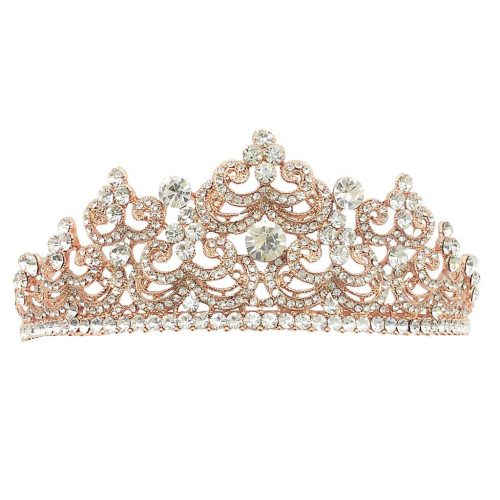 HT1662[1] rose gold & crystal bridal crown