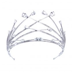 Modern bridal crown with pavet set crytals and pear shaped crystal detailsHT1803
