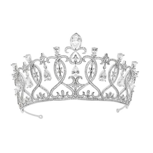 Filagree detail bridal crown with pavé set crystal HT1807