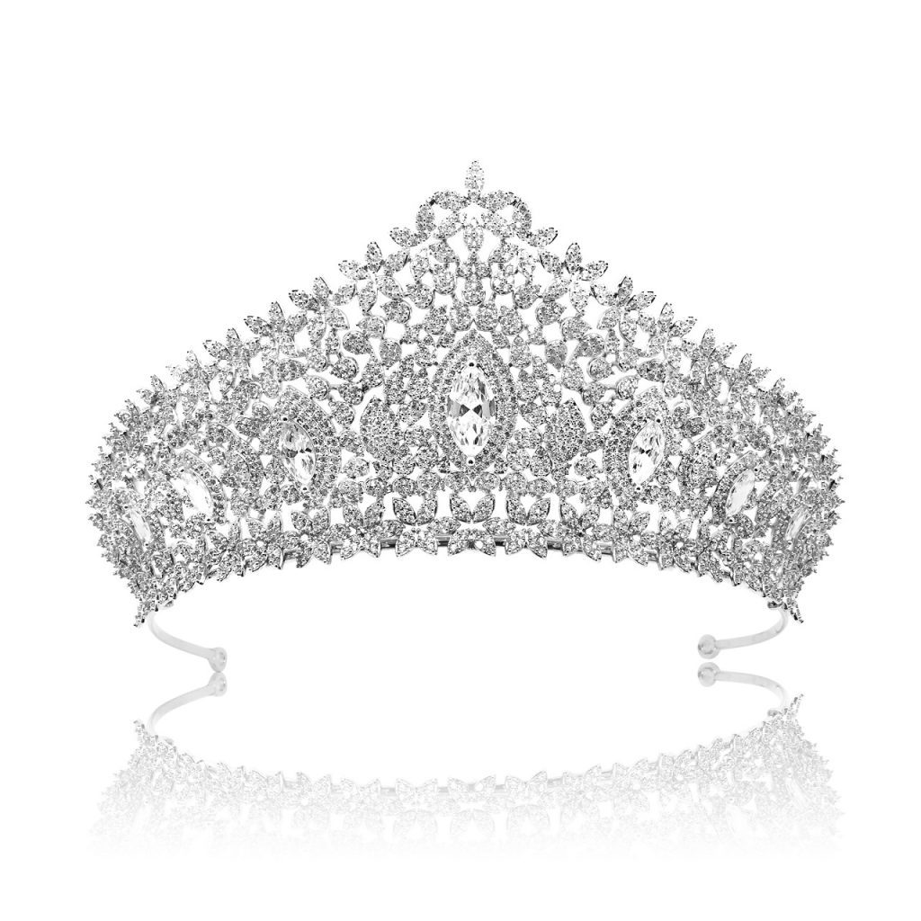 CRYSTAL BRIDAL CROWN, CUBIC ZIRCON, WEDDING TIARA HT1808