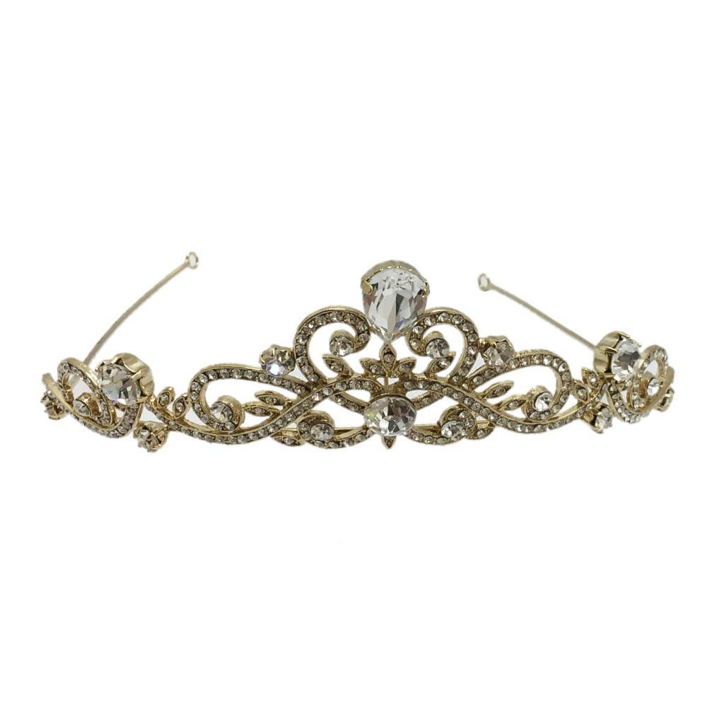 HT679G bridal crown in golden base and crystals