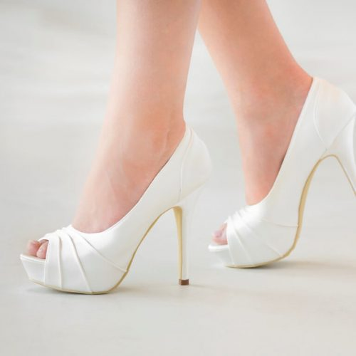 High heel platform bridal shoe