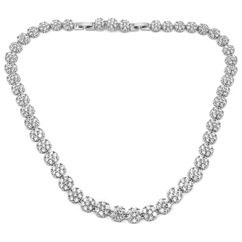 Collar bridal necklace featuring pav'e set crystals, adjustable length