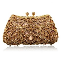Stunning Champagne coloured crystal bridal clutch