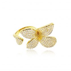 Pave set crystals ring set in goldR1801G
