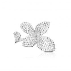 Pave set crystal ring in leaf design and silver finish. R1891