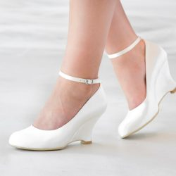 Round toe & wedge heel bridal shoe from Jeanette Maree
