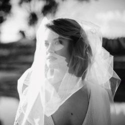 beautiful veil over brides face