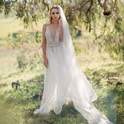 country bride wearing veil