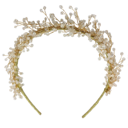 Jeanette Maree stunning vintage styled wedding hair band with delicate floral pattern in gold & pearl 6032